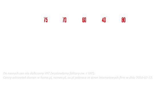 Cennik domen: porównanie nawitrynie.pl, nazwa.pl, az.pl, home.pl