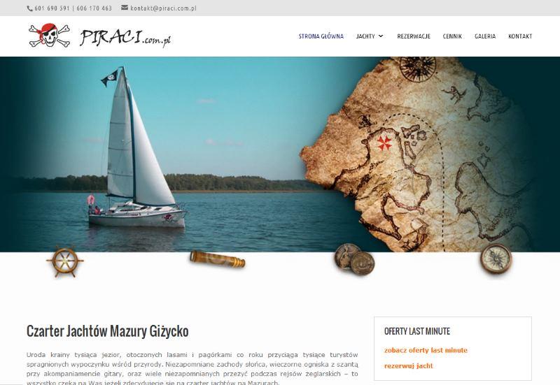 Strona internetowa Czarter jachtów Mazury – piraci.com.pl