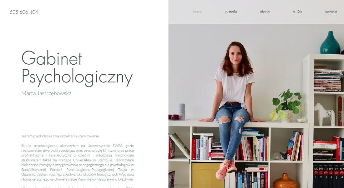 Strona internetowa Wix psycholog Marty Jastrzębowskiej